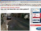 Parkendes Auto? Egal, dachte sich eine Baufirma in Düsseldorf - und teerte ringsrum. (Foto)