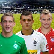 Petersen, Xhaka, Shaqiri (von links): Wird einer aus diesem Trio der Jungstar der Bundesliga-Saison 2012/13?