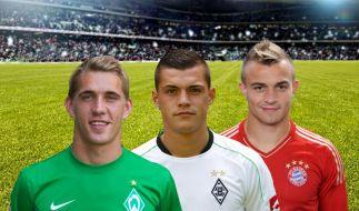 Petersen, Xhaka, Shaqiri (von links): Wird einer aus diesem Trio der Jungstar der Bundesliga-Saison 2012/13? (Foto)