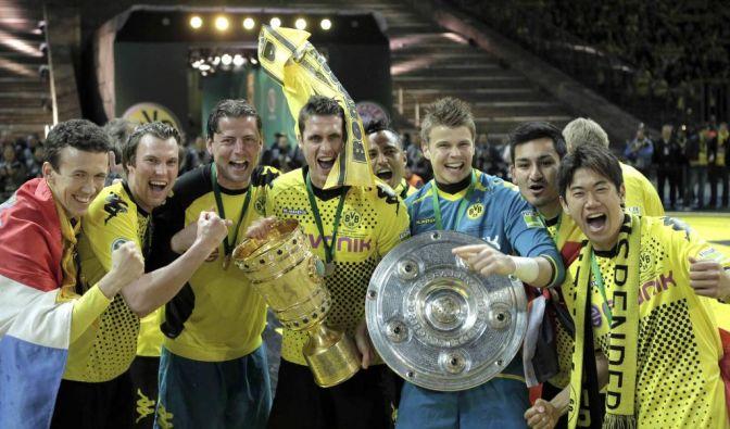 Pokalfinale in Berlin, Die Double-Sieger: Sebastian Kehl (Mitte) & Co. sind nach einem rauschenden P (Foto)