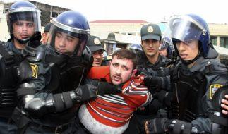 Polizeieinsatz in der ESC-Ausrichterstadt Baku: Aserbaidschan wurde von Amnesty scharf kritisiert. (Foto)