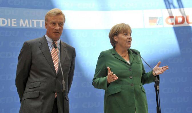 Pressestatement von BK Merkel und Beust (Foto)