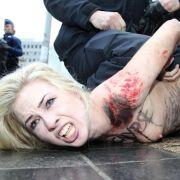 Protest der freizügigen Art: Auch vor dem EU-Russland-Gipfel hat Femen demonstriert.