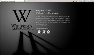 Protest gegen US-Netzsperren: Wikipedia offline (Foto)
