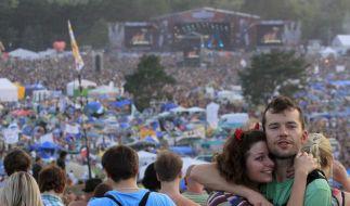 Schlamm und Sonne - Hunderttausende bei «Woodstock» (Foto)