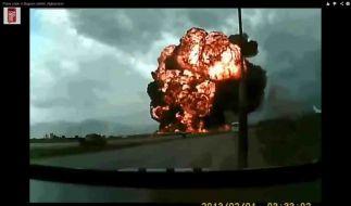 Screenshot aus dem Video des Absturzes bei Bagram. (Foto)