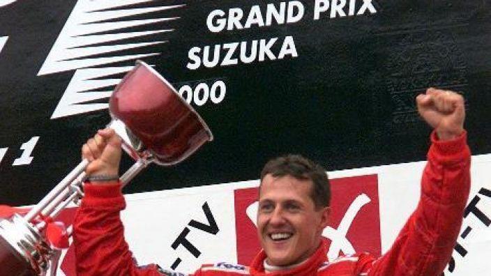 Seinen vorzeitigen WM-Sieg beim Japan-GP feierte Schumacher euphorisch.
