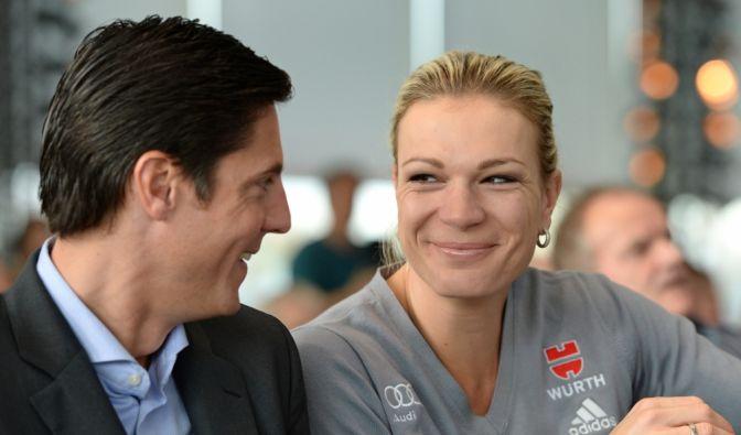 Skirennläuferin Maria Höfl-Riesch und ihr Mann Marcus Höfl. (Foto)