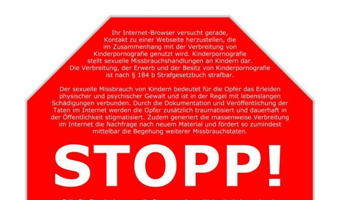 So soll es aussehen, das Stoppschild, das Ursula von der Leyen für kinderpornographische Seiten gepl (Foto)
