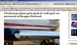 So versank das Flugzeug im weichen Asphalt. (Foto)