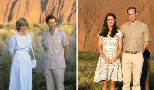 Sowohl Prinzessin Diana und Prinz Charles als auch Herzogin Kate und Prinz William besuchten bereits das Wahrzeichen Ayers Rock in Australien - und beide Prinzgemahlinnen punkteten mit einer tadellosen Kleiderwahl. (Foto)