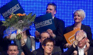 Spitzenkandidatin und Ex-Ministerpräsidentin Annegret Kramp-Karrenbauer (CDU) im Wahlkampf-Endspurt. (Foto)