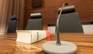 Strafprozessordnung auf dem Richtertisch im Freiburger Landgericht. (Foto)