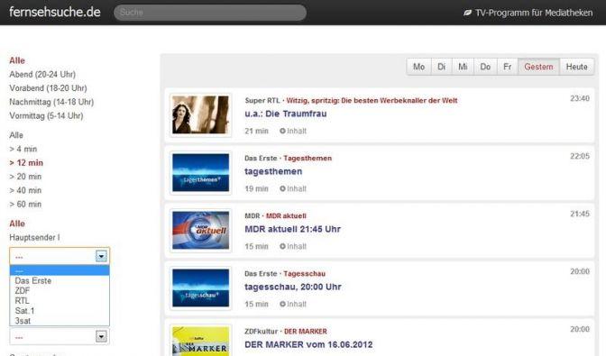 Suchmaschine für Online-Mediatheken (Foto)