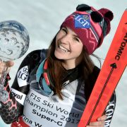 Tina Weirather aus Liechtenstein ist Super G-Gesamtweltcupsiegerin. (Foto)