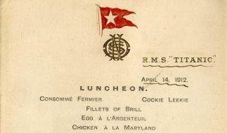 «Titanic»-Speisekarte für 76 000 Pfund versteigert (Foto)