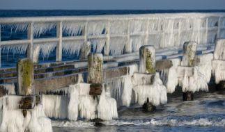 Überzug: Durch die frostigen Temperaturen ist die Seebrücke an der Ostsee bei Travermünde mit dickem Eis überzogen. (Foto)