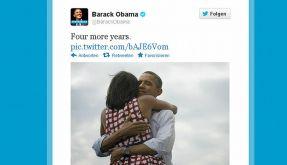 Unmittelbar nach der Entscheidung feierte Obama seinen Wahlsieg auf Twitter und Facebook. (Foto)