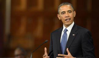 US-Präsident Barack Obama spricht bei einer Gedenkfeier in der Heilig-Kreuz-Kathedrale in Boston. (Foto)