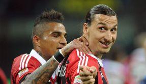 Verrückt genug für eine verrückte Bedingung? Zlatan Ibrahimovic und Kevin-Prince Boateng im Milan-Trikot. (Foto)