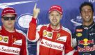 Nachdem Sebastian Vettel schon im spannenden Qualifying die Pole ergatterte, machte der Ferrari-Pilot am Sonntag den Sack zu: Vettel gewinnt den Großen Preis von Singapur! Alles zum Rennen erfahren Sie hier. Foto: dpa