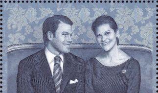 Victoria und Daniel lächeln von Briefmarke (Foto)