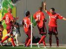 Viermal jubelten die HSV-Spieler in Wolfsburg, hier noch nach dem 1:0. (Foto)