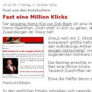 Widerlich: Das Portal wirbt mit den vielen Klicks auf den Schmähartikel über Dirk Bach.