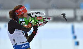 Wintersportlerin Laura Dahlmeier hat im Biathlon-Weltcup ihren neunten Titel fest im Visier. (Foto)