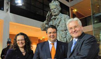 Wohin steuert die SPD? Andrea Nahles, Sigmar Gabriel und Frank-Walther Steinmeier (v. links). (Foto)