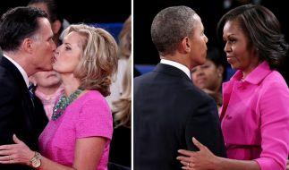 Zwei Kandidaten und ihre pinken Frauen. Modisch ging die zweite TV-Debatte als Pink-Patzer in die Geschichte ein. (Foto)