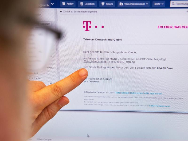 Internet Phishing Angriffe Mit Gefälschten Telekom Rechnungen