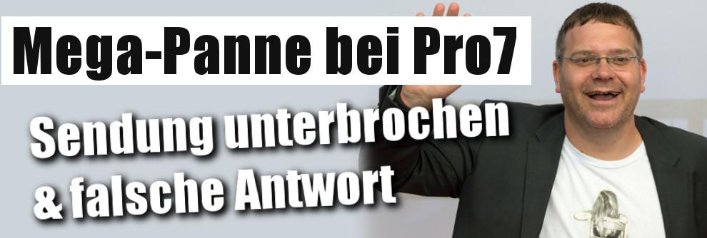 """Schock bei """"Schlag den Star"""": Mega-Panne bei Pro7 - Sendung unterbochen, falsche Antwort! (Foto)"""