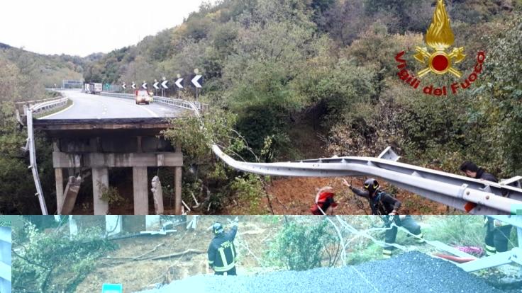Ein Autobahnviadukt ist nach den heftigen Unwettern der vergangenen Tage in Norditalien eingestürzt. (Foto)