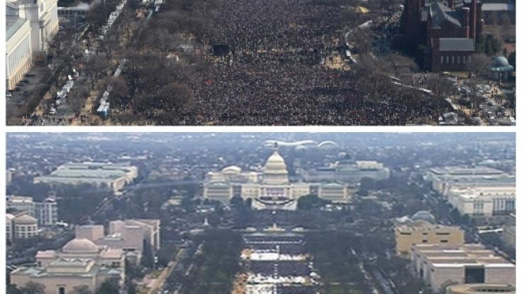 Die Menge an der Nationalpromenade während der Amtseinführungen des ehemaligen US-Präsidenten Barack Obama (oben) 2009 und Donald Trump (unten) 2017 (zum Vergrößern auf Lupe klicken). (Foto)