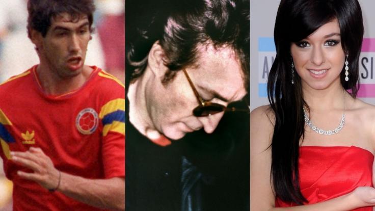 """Von derangierten Fans ermordet: Fußballer Andrés Escobar, """"Beatles""""-Legende John Lennon und """"The Voice""""-Star Christina Grimmie. (Foto)"""