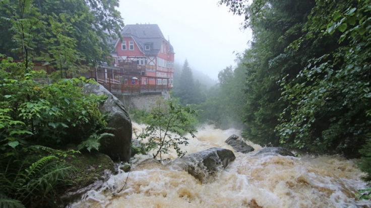 Dauerregen lässt Flüsse im Harz zu Sturzbächen anschwellen.