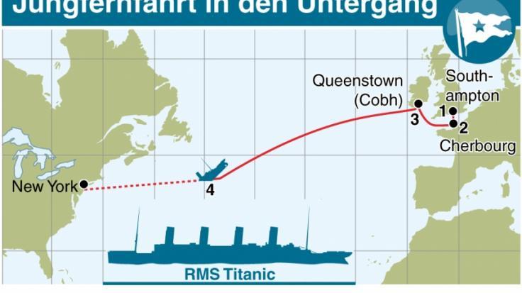 Jungfernfahrt in den Untergang: Diese Route nahm die RMS Titanic im April 1912, bevor sie vor der Küste Neufundlands sank und mehr als 1.500 Menschen in den Tod riss. (Foto)
