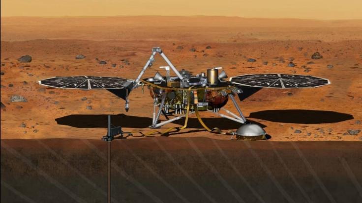 """Nasa visualisiert den Marslander """"InSight"""" bei der geplanten Bohrung auf dem Mars. (Foto)"""