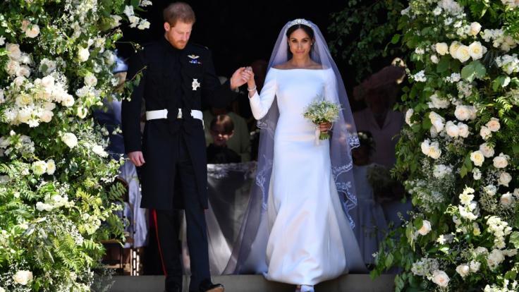 Prinz Harry und Herzogin Meghan von Sussex als frisch getrautes Ehepaar beim Verlassen derSt.-Georgs-Kapelle am 19. Mai 2018. (Foto)
