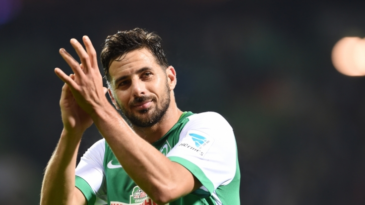 Claudio Pizarro beim Bundesliga-Spiel Werder Bremen gegen Hertha BSC. (Foto)