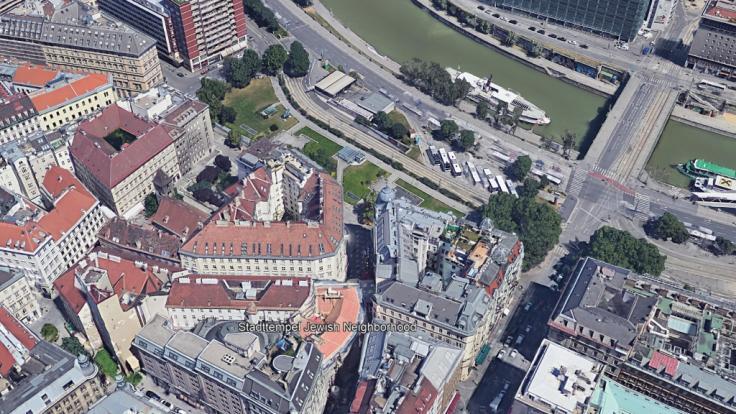 Die Satellitenaufnahme zeigt den 1. Wiener Gemeindebezirk Innere Stadt sowie die Lage des Stadttempels, der Hauptsynagoge von Wien. (Foto)