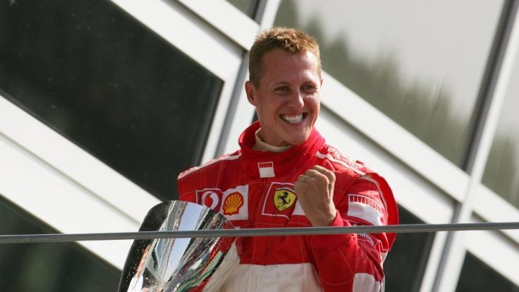Michael Schumacher nach einem Formel-1-Sieg im Jahre 2006.