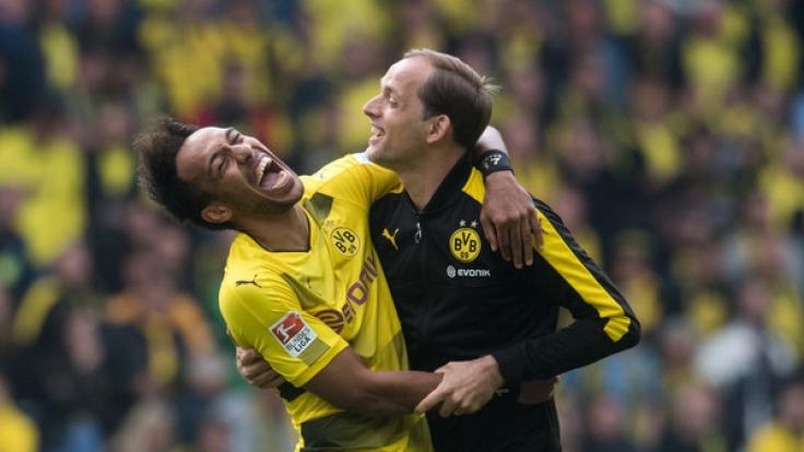Haben Trainer Thomas Tuchel (re.) und BVB-Star Pierre-Emerick Aubameyang im DFB-Pokal-Finale Grund zur Freude?