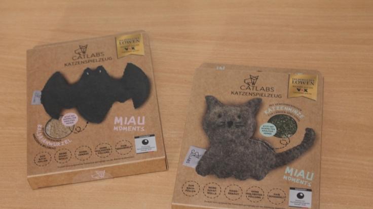 Das Katzenspielzeug von Catlabs gibt es in zwei Ausführungen mit Baldrianwurzel oder Katzenminze. (Foto)