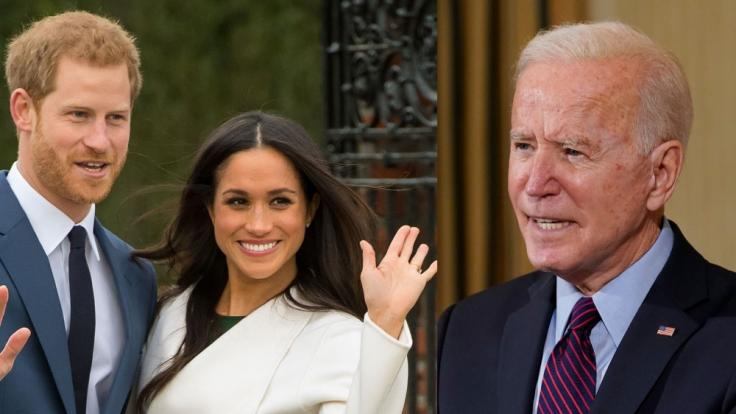 Meghan Marke und Prinz Harry könnten im Rennen um die Gunst von Joe Biden vor der Queen liegen. (Foto)