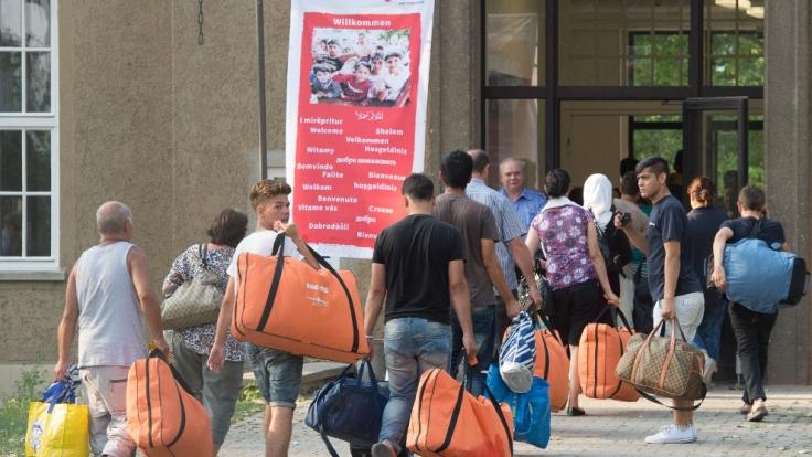 Erstaufnahmeeinrichtung für Asylbewerber in Leipzig.