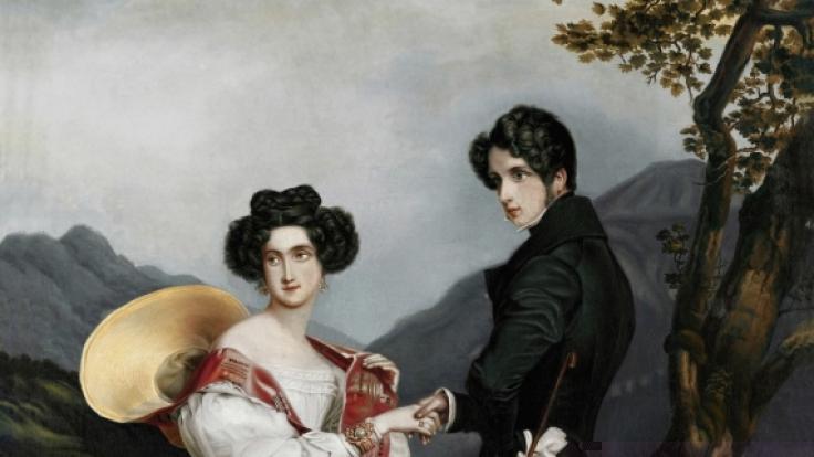 Ein Bildnis von Ludovika und Prinz Max bei ihrer Verlobung. Man sieht deutlich wie die Prinzessin sich von ihrem künftigen Gatten abwendet