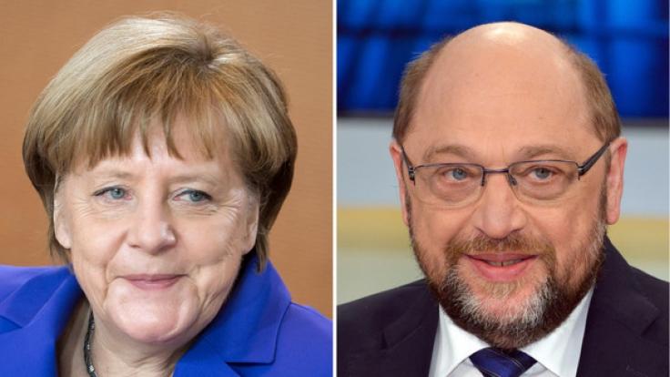 Treten bei der Bundestagswahl für die großen Parteien an: Kanzlerin Angela Merkel (CDU) und Martin Schulz (SPD). (Foto)