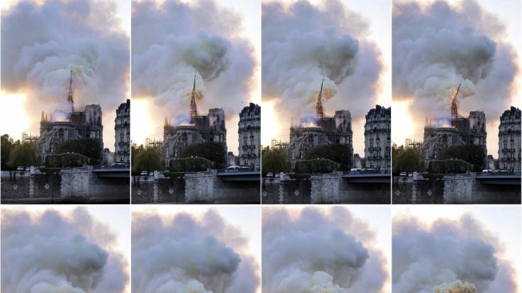 Diese Bildkombo zeigt Rauch und Flammen, die von der Kathedrale Notre-Dame aufsteigen und den kleinen Spitzturm einstürzen lassen. Ein Feuer verwüstete am Montag die Kathedrale Notre-Dame.
